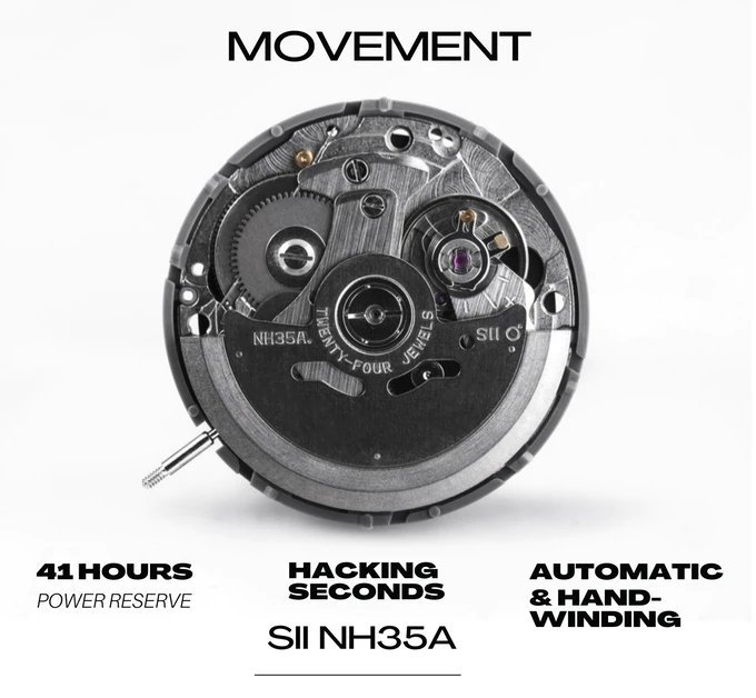 Aequorea is powered by the Seiko NH35A movement
