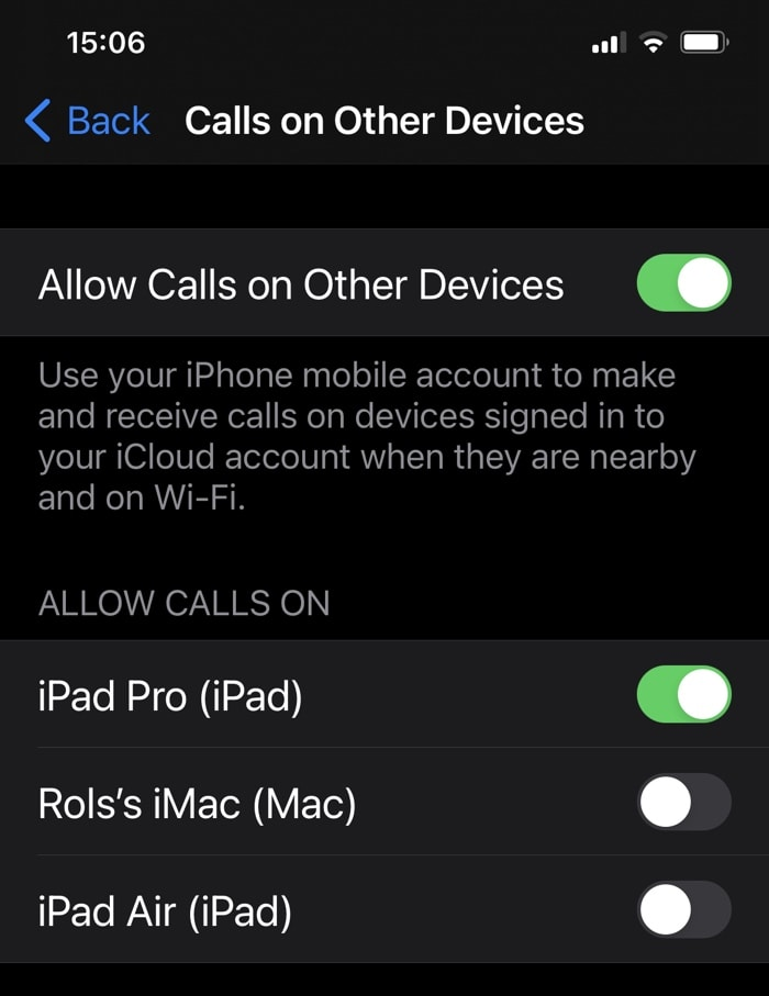 calls on other devices