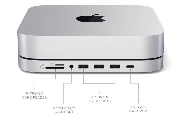 Apple Mac Mini USB-C hub, stand and SSD