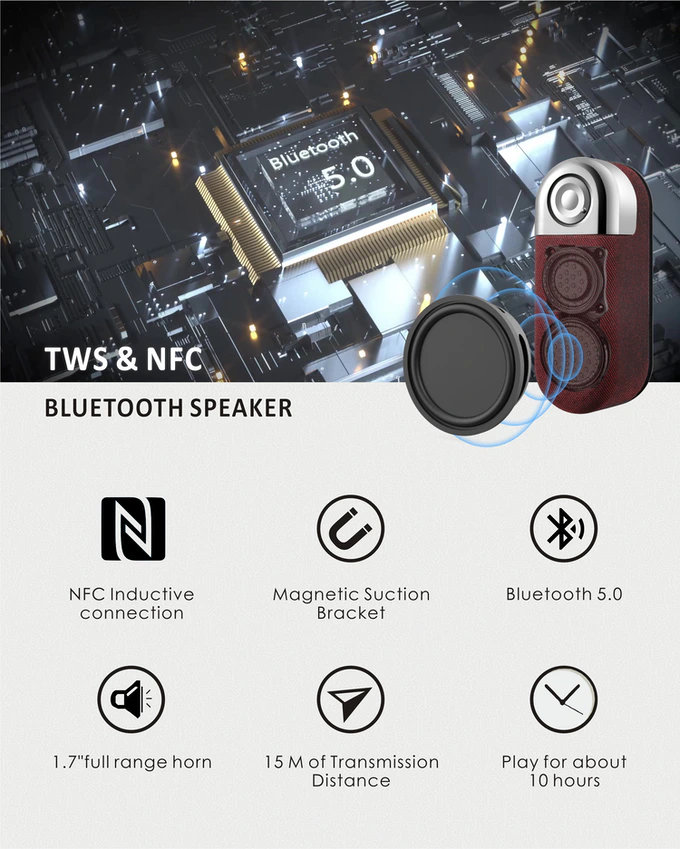 Compact portable Bluetooth 5.0 speaker with magnetic mount