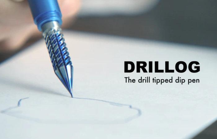 Drillog drill tipped dip pen