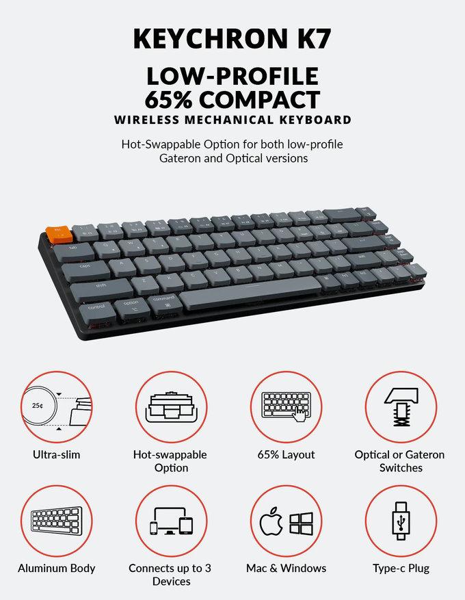 Keychron K7 slim wireless mechanical keyboard