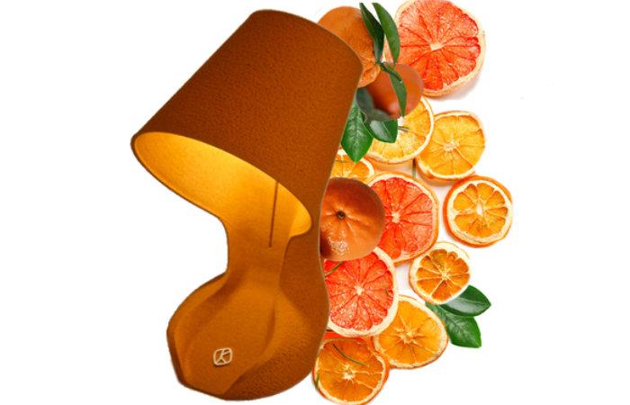 Ohmie desk lamp made from orange peel