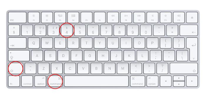 Mac Keyboard Shortcut Shift + Command + 4