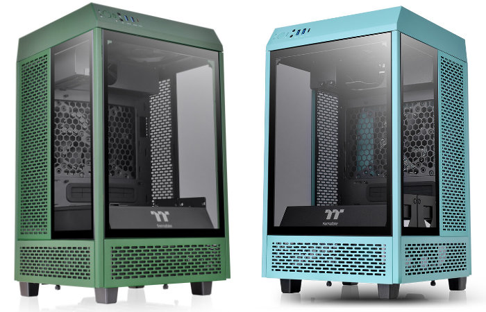 Thermaltake Tower 100 Mini PC cases in Turquoise and Racing Green