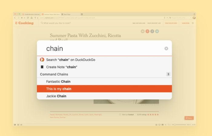 Vivaldi browser commands chains