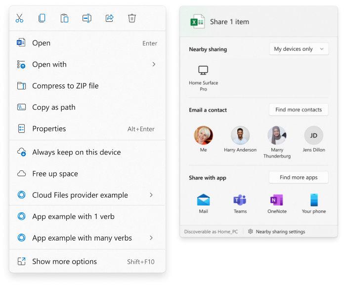 Windows 11 context menu enhancements and sharing