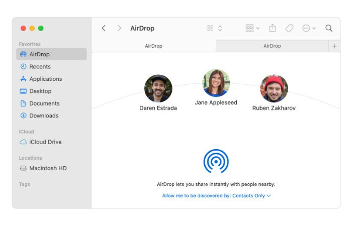 connecting to nearby Mac computers for AirDrop