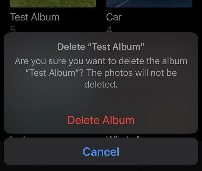Delete Album iPhone