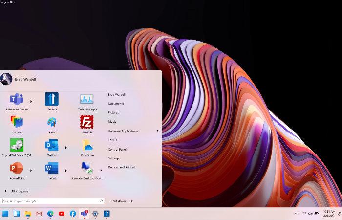 Correct the Windows 11 Start Menu position