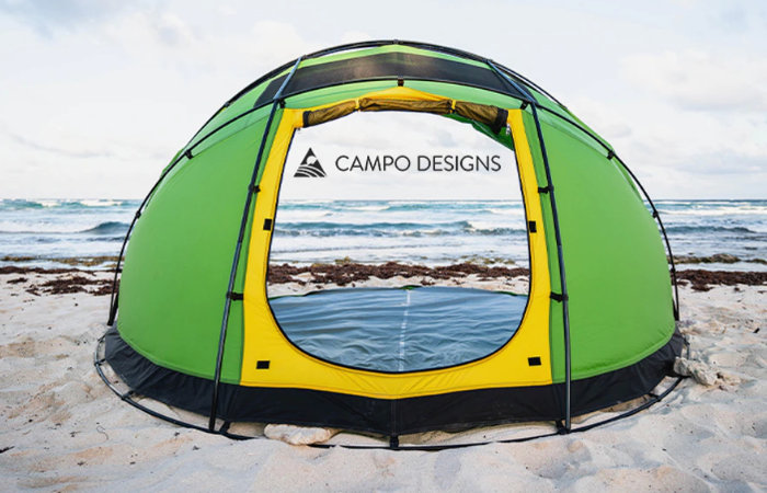 Escape M4 tent opens with a fully retractable canopy
