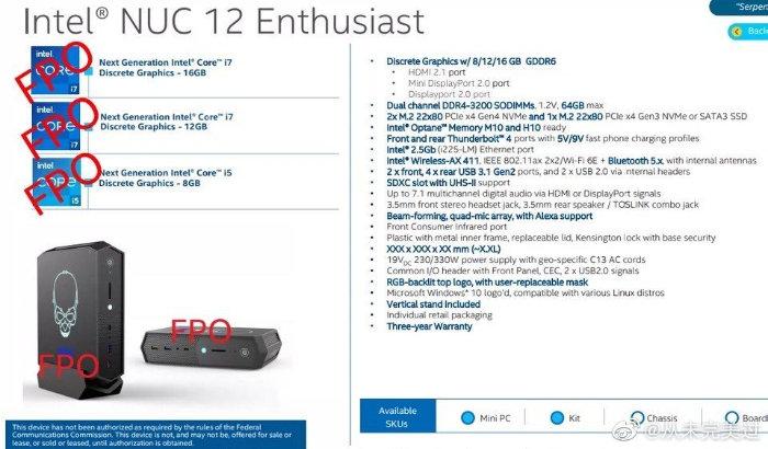 Intel NUC 12 Enthusiast mini PC