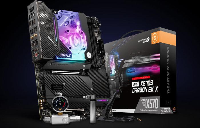 Liquid cooled X570S Gaming Carbon EK-X motherboard