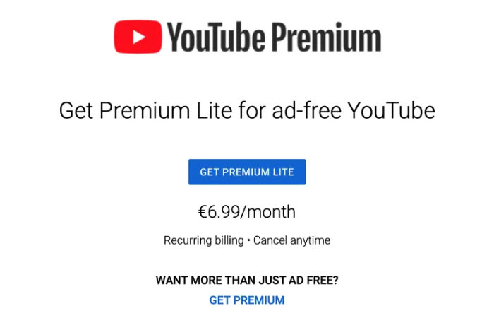 YouTube testing Premium Lite advert free subscription