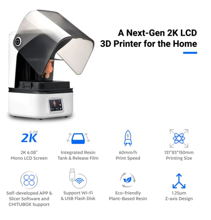2K LCD 3D printer features