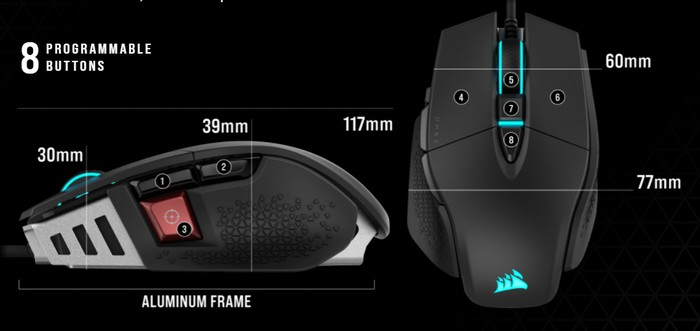 M65 RGB ULTRA gaming mouse top