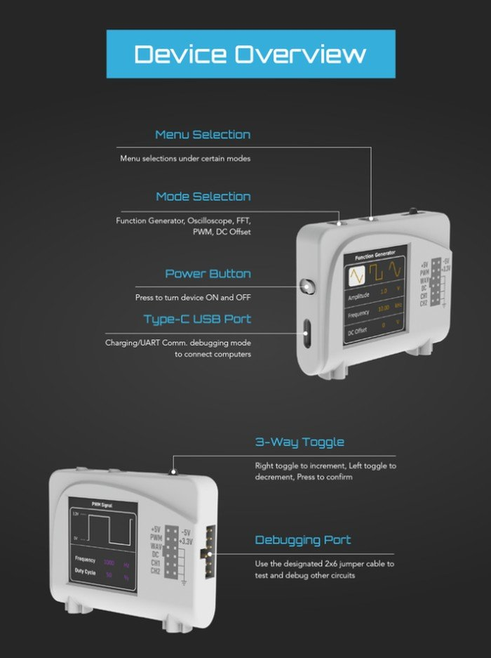 Zoolark pocket oscilloscope and function generator