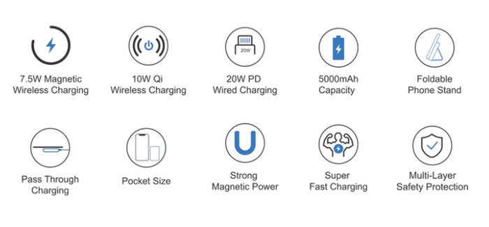 features of the wireless charging battery pack