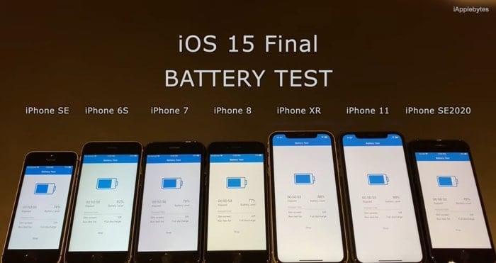 iOS 15 battery test