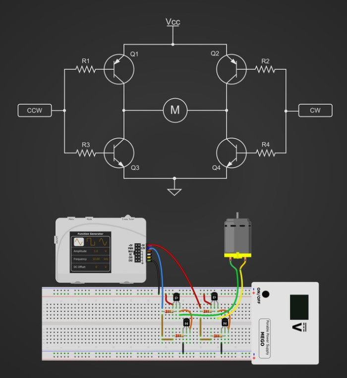 oscilloscope and function generator