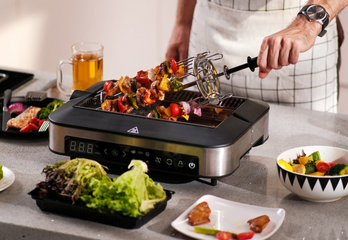 smokeless indoor grill cooking